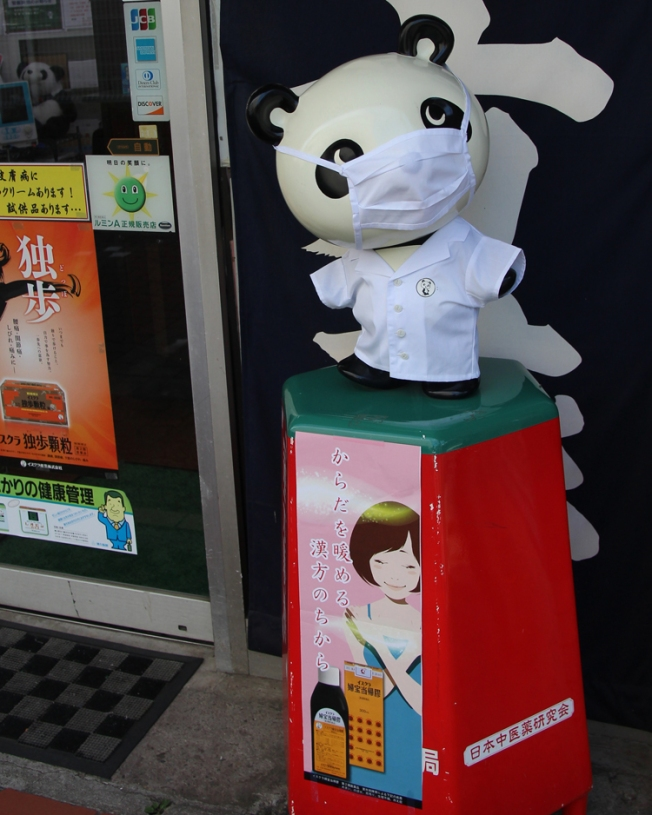 In Japan, many people can be seen in public wearing face masks. This is considered the polite thing to do if a person is sick, to prevent them from transmitting germs and diseases to others. This panda is encouraging the practice on the streets of Ontakesan.