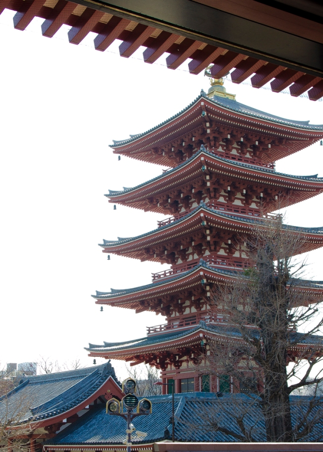 View of the Gojūnoto, a famous pagoda at Sensōji.