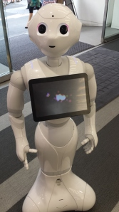 Cool Softbank Robot that greets you as you enter the cell phone store.