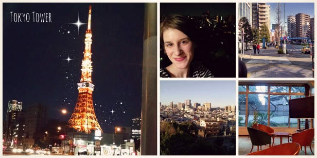 Here's Tokyo Tower, me with the view from my balcony, some scenes of Tokyo, and the lobby of the Kitazono Women's Dorm.