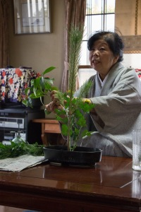 Our host showed us how to do Ikebana, which is the art of flower arranging. There are many rules involved, and it took her a year to learn!