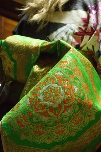 The kimonos that the girls wore had exquisite detail, and were made of real silk.