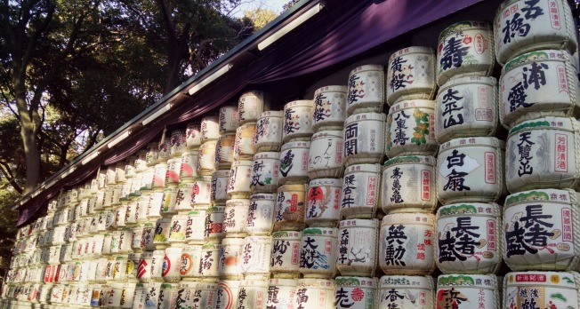 What looks like nearly 200 barrels of sake are stacked here along one of the paths on the shrine grounds. These barrels were donated by Japanese sake brewers.