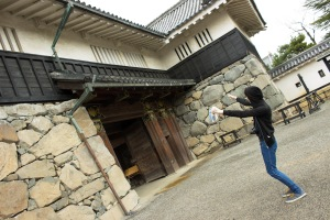 Temple Japan student Carlos Casademont realizes just how big the castle is. And this was just the gate!