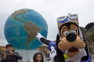 Goofy waited for 5 minutes until America rotated into view on the globe, so that he could correctly point to where Temple Main Campus was. His guesses of China, South Africa, and the Philippines were a bit off, but he finally got it right.