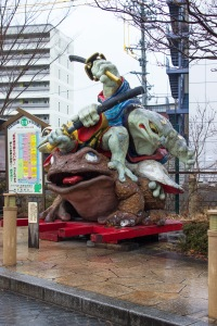 A statue in Matsumoto featuring multiple toads. In Japan, many toads are considered a sign of good luck.