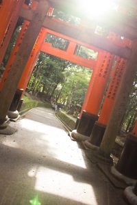 The sun peaked out a little for a magical moment, but like every trip I've taken so far, the day got very cloudy and rained a little. This moment, however, really brought the tranquility and beauty to Fushimi Inari shrine.