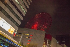 Osaka at night has so much to do! We passed so many pachinko parlors, karaoke studios, movie theaters, and even saw this giant ferris wheel coming out of a building!