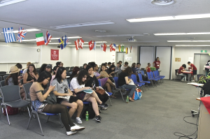 Orientation session day 2 for TUJ summer study abroad orientation week in Azabu Hall room 206 in Tokyo, Japan.