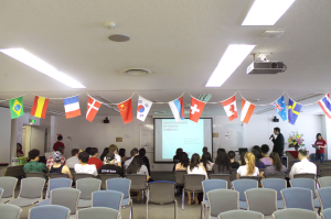 Orientation presentations day 2 explaining logistical and culture information. Held in Azabu Hall room 206 in Tokyo, Japan.