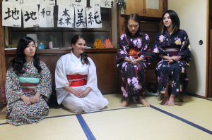 TUJ female students dressed in beautiful yukatas, which is a casual summer kimono typically worn during summer festivals by young girls.