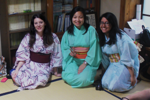 TUJ students dressed in their yukatas.