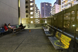 Expansive outdoor smoking area located outside of TUJ's cafeteria on the 2nd floor of Azabu Hall. Offers a great view and atmosphere for hanging out.