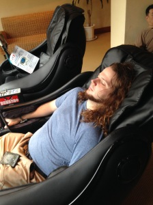 A fellow student enjoying the massage chair after the bath. It was wonderful and felt like heaven!