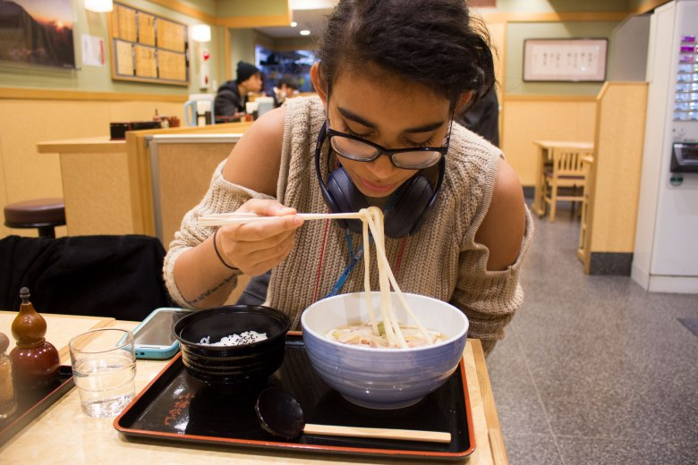 SP18609_Tokyo_SA Student Mykel eating Udon_KaylaAmador
