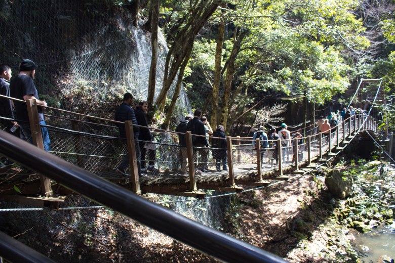 SP18806_Izu_Students Crossing a Bridge at Kawazu Seven Falls_KaylaAmador